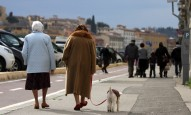 Italy's ageing population ladies walking Florence